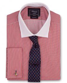 Мужская рубашка под запонки в красную полоску с белым воротником T.M.Lewin сильно приталенная Fully Fitted (47891)