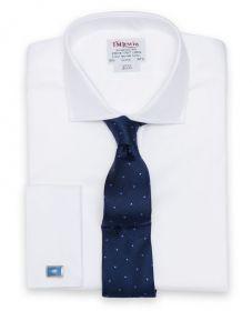 Мужская рубашка под запонки белая T.M.Lewin приталенная Slim Fit (34238)