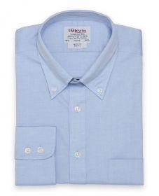 Мужская рубашка синяя воротник с пуговицами T.M.Lewin приталенная Slim Fit (41610)