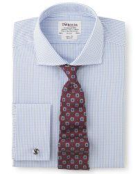 Мужская рубашка под запонки в синюю клетку T.M.Lewin приталенная Slim Fit (34820)