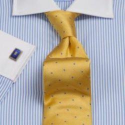 Рубашка мужская под запонки синяя в белую полоску с белым воротником и манжетами T.M.Lewin приталенная Slim Fit (41350)