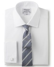 Мужская рубашка под запонки белая T.M.Lewin приталенная Slim Fit (27683)