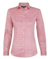 Женская рубашка белая с пурпурным узором хлопок T.M.Lewin приталенная Fitted (54578)