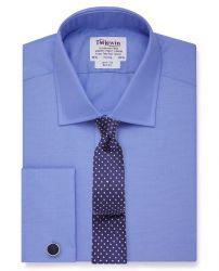 Мужская рубашка под запонки темно-синяя T.M.Lewin приталенная Slim Fit (55140)