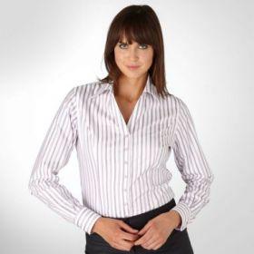 Женская рубашка белая в сиреневую полоску T.M.Lewin приталенная Fitted (44067)
