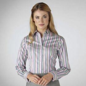 Женская рубашка под запонки в зелено-сиреневую полоску T.M.Lewin приталенная Fitted (44271)