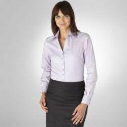 Женская рубашка голубая в сиреневую полоску T.M.Lewin приталенная Fitted (44080)