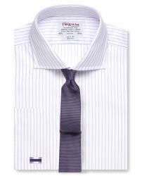 Мужская рубашка под запонки белая в сиреневую полоску T.M.Lewin приталенная Slim Fit (55139)