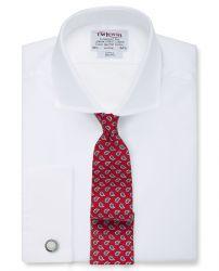 Мужская рубашка под запонки белая T.M.Lewin приталенная Slim Fit (26122)