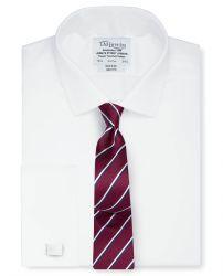 Мужская рубашка под запонки белая T.M.Lewin не мнущаяся Non Iron приталенная Slim Fit (53776)