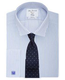 Мужская рубашка под запонки в светло-синюю полоску T.M.Lewin не мнущаяся Non Iron сильно приталенная Fitted (55703)