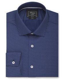 Мужская рубашка темно-синяя в двойную белую точку T.M.Lewin сильно приталенная Fitted (54514)