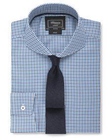 Мужская рубашка с закругленным воротником в серо-синюю клетку T.M.Lewin сильно приталенная Fitted (54363)