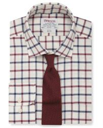 Мужская рубашка с начесом белая в крупную красно-синюю клетку T.M.Lewin приталенная Slim Fit (54809)