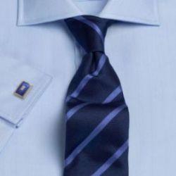 Рубашка мужская под запонки синяя T.M.Lewin приталенная Slim Fit (41342)