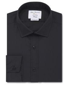 Мужская рубашка черная T.M.Lewin сильно приталенная Fitted (40441)