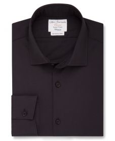 Мужская рубашка черная T.M.Lewin сильно приталенная Fitted (57313)