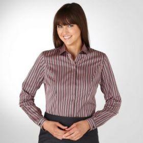 Женская рубашка в сиренево-черную полоску T.M.Lewin приталенная Fitted (44077)