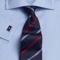 Рубашка мужская с длинным рукавом под запонки светло-синяя T.M.Lewin приталенная Slim Fit (41349 LS)